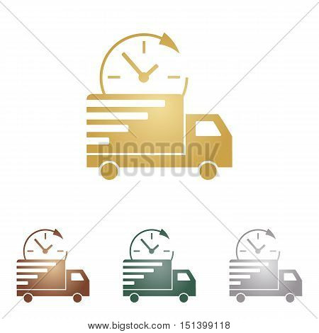 Delivery Sign Illustration. Metal Icons On White Backgound.