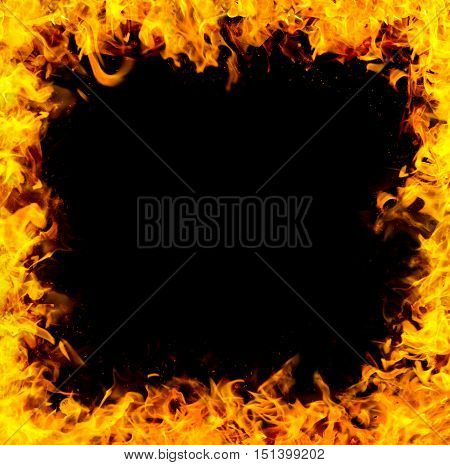 abstract fire frame border on black background