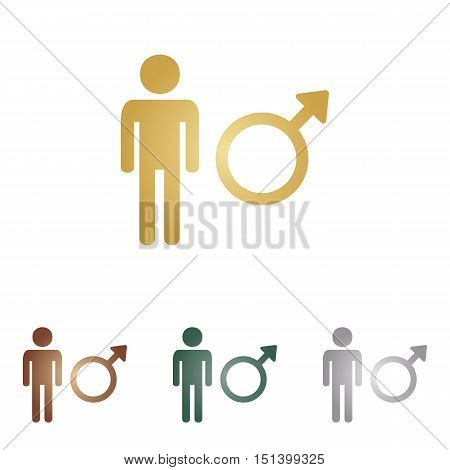 Male Sign Illustration. Metal Icons On White Backgound.