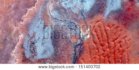 abstract landscapes of deserts of Africa ,abstract photography deserts of Africa from the air, mirage in Sahara desert, fantasy forms of dunes in the desert
