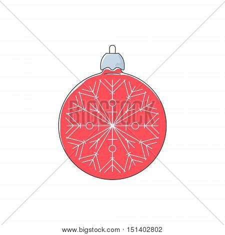 Christmas Red Ball with Snowflake , Christmas Ball Isolated on White Background , Christmas Tree Decoration, Merry Christmas and Happy New Year, Vector Illustration