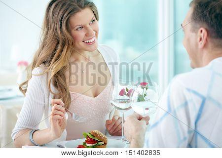 Romantic talk in cafe