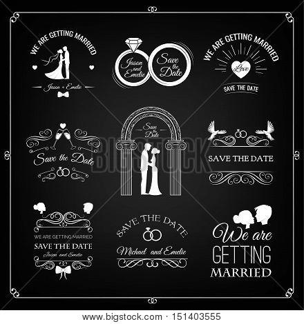 Set of wedding invitation template. vintage design elements. Wedding set: dress, couple, ring, invitation, bride and groom. Wedding couple: bride and groom. Filigree scroll swirl vintage frame