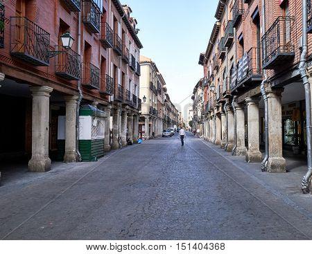 images of ancient streets in Alcala de Henares, Spain