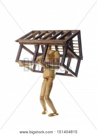 model of house and dummy on white background