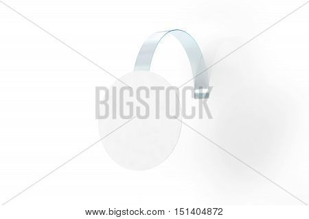 Blank white wobbler hang on wall mock up clipping path 3d rendering. Space round paper mockup on plastic transparent strip. Clear price sticker circle shape. Pricing tag label template isolated.