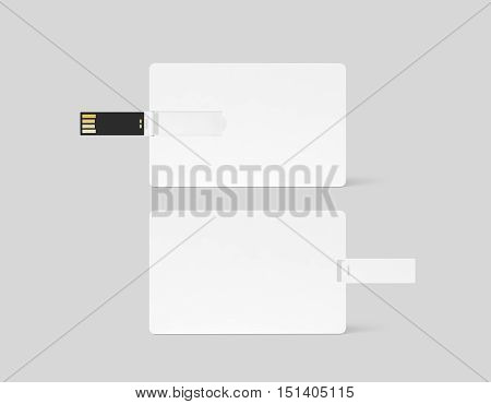 Blank white plastic wafer usb card design mockup front back side view clipping path 3d rendering. Visiting flash drive namecard mock up. Call-card disk souvenir presentation. Credit stick adapter.