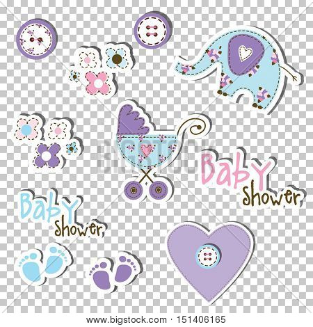 Baby shower design elements. Suitable for stickers, decoration, scrapbook, cards, invitations, labels, craft...