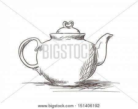 Sketch of tea pot isolated Hand drawn vector illustration