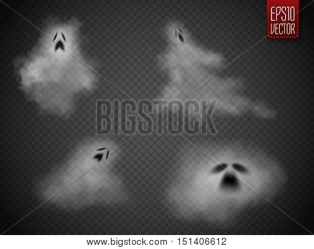 Ghosts isolated on transparent background. Phantoms set. Vector illustration.