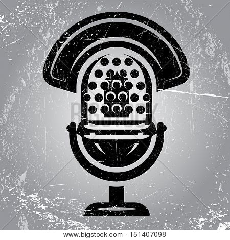gray retro poster with scratches and radio Microphone