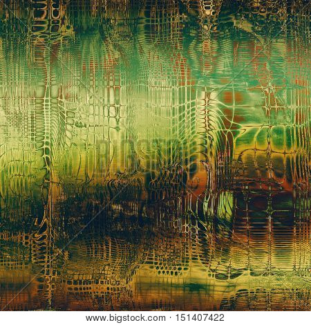 Background with grunge elements on vintage style old texture. With different color patterns: yellow (beige); brown; green; red (orange)