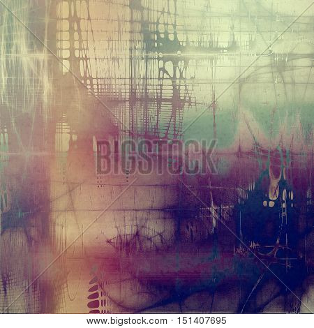Old school elements on textured grunge background. With different color patterns: yellow (beige); brown; gray; green; blue; purple (violet)