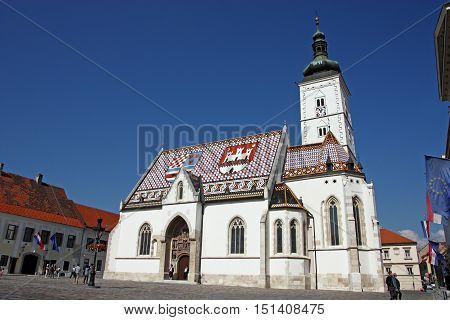 CROATIA ZAGREB - 25 SEPTEMBER 2016: Church of St. Mark is parish church of old Zagreb located in St. Mark's Square.