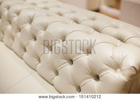 Ivory back of a luxury leather sofa