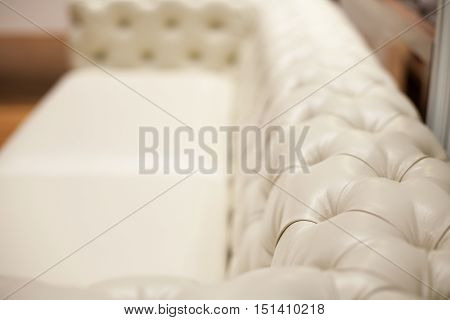 Ivory back of a luxury leather sofa