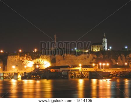 Harbour With A Church On A Cliff In The Night, Dieppe, France