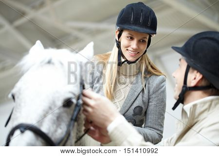 During horseriding training
