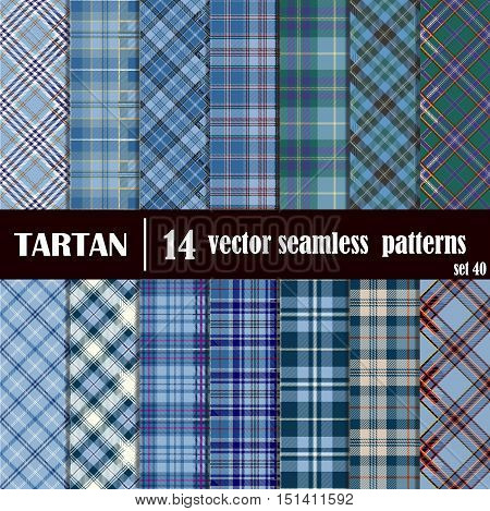 Set tartan seamless pattern in blue colors. Lumberjack flannel shirt inspired. Seamless tartan tiles. Trendy hipster style backgrounds. Suitable for decorative paper fashion design home and handmade crafts.