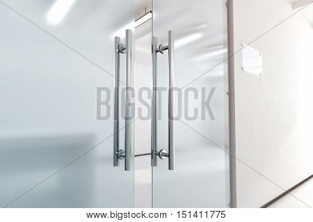 Blank glass door with metal handles mock up 3d rendering. Office entrance with space sign board on wall mockup. Opened luxury hall doorway with transparent surface for your company logo design.