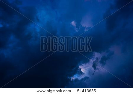 Dramatic Background of dark clouds before a thunder-storm