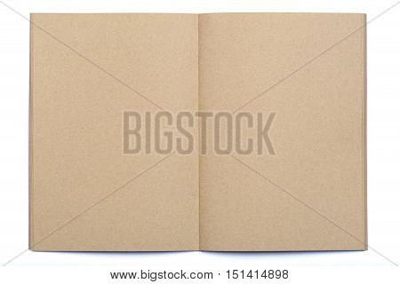 Opened blank page of kraft paper notebook on white background