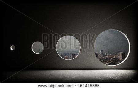 3d rendering of different size windows and bad weather