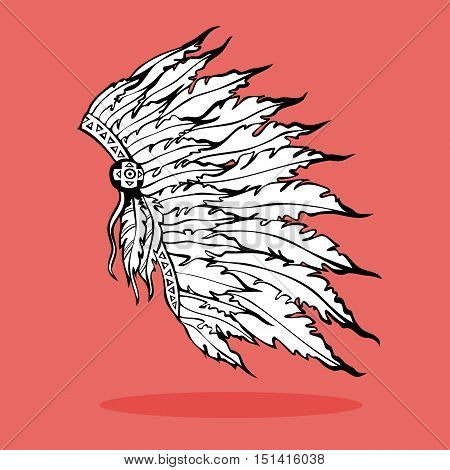 War Bonnet. Hand drawn native American Indian tribal plume headdress. Black ink drawing. Vector illustration.