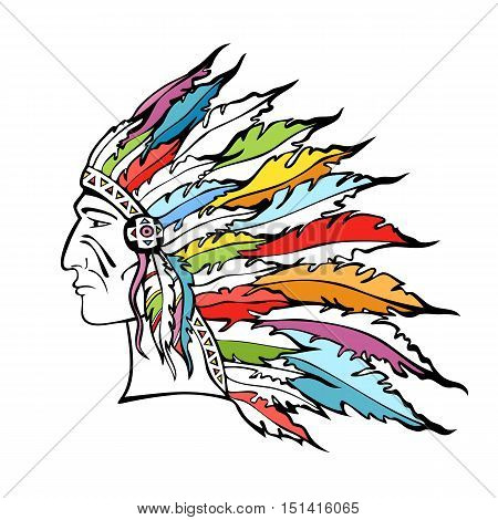 Native American Indian Chief with plume headdress. Hand drawn portrait of man in war bonnet. Warrior in tribal plumages. Vector illustration.