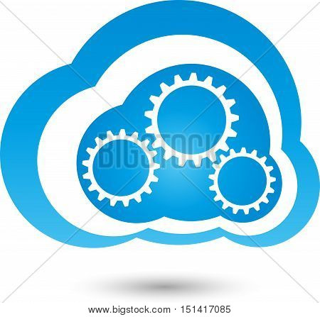 Cloud and bicycles, cloud computing, cloud and internet logo