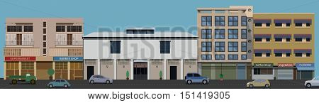 Raw of Buildings front view from the street with road and cars in vector format