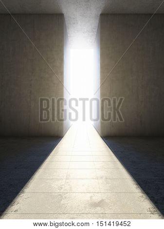 Passage between concrete slabs to light. 3D illustration.