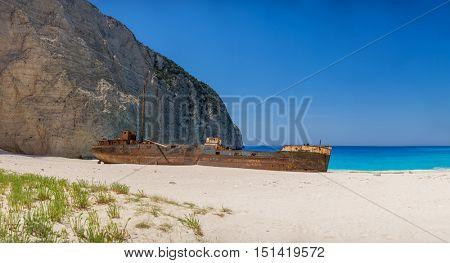 Famous shipwreck on Navagio Beach, Zakynthos, Greece