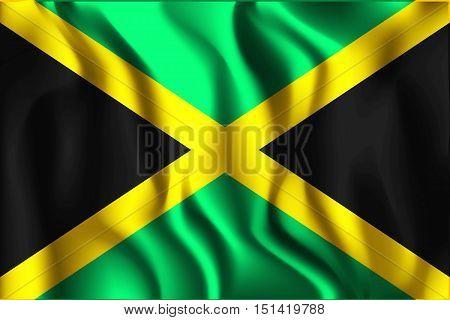 Flag Of Jamaica. Rectangular Shaped Icon