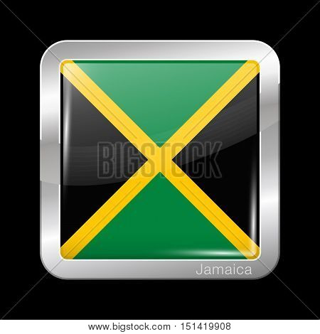 Flag Of Jamaica. Metal Icon Square Shape