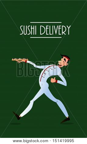 Sushi delivery poster. Sushi menu design. Japanese sushi delivers. Bright cheerful character in a flat style