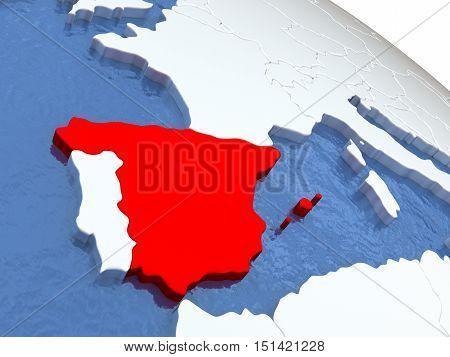 Spain On Globe
