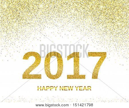 Happy New Year 2017 with golden glitter effect, isolated on white background. Vector illustration. Design element for festive banner, card, invitation