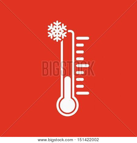 The thermometer icon. Low temperature symbol. Flat Vector illustration