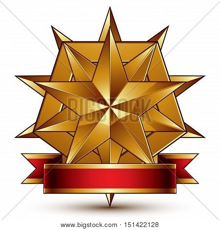 Vector complicated glossy design element luxury 3d polygonal golden star placed on a decorative blazon conceptual graphic coat of arms with wavy red ribbon