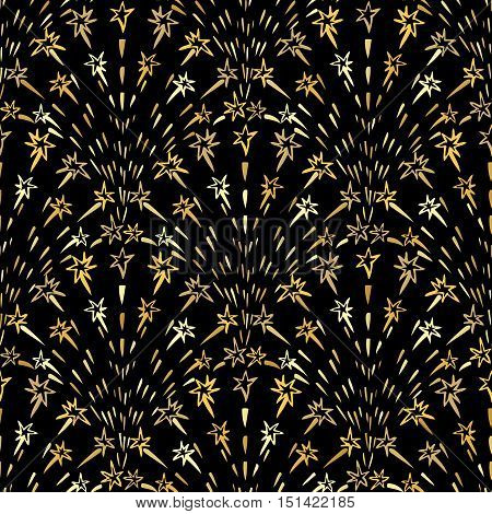 Background with golden doodle style firecrackers. Repeatable decorative pattern. Abstract gold colors fireworks elements. Seamless ornament. Vector illustration.