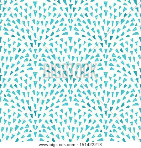 Blue background with triangular fountains pattern. Abstract design doodle style elements. Grunge seamless pattern. Vector illustration.