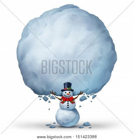 Snowman holding blank snow sign with copy space as a winter holiday celebration banner or a snow character holding up a snowball as a Christmas or cold seasonal symbol with 3D illustration elements.