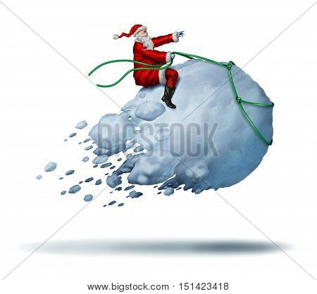 Santa Clause Snow Fun as father christmas riding a flying giant snowball as a joyful happy winter celebration activity with 3D illustration elements on a white background.