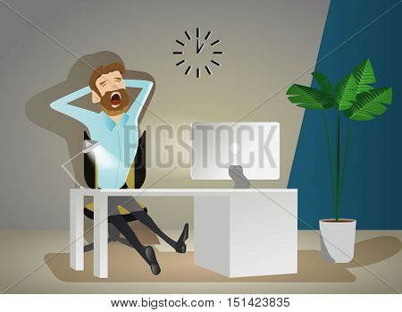Of tired businessman working late at night in the office vector illustration