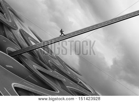 Escaping from trouble and navigate away from a crisis concept as a businessman running upward on a straight road to evade a falling and failing highway structure with 3D illustration elements.
