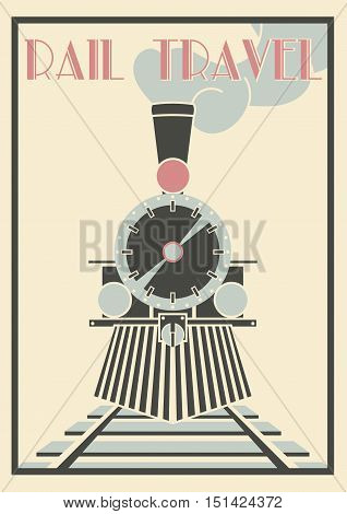 Layered Vectorvintage Illustration Of Steam Locomotive - Rail Travel.