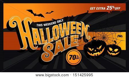 Halloween sale template banner design with pumpkins. Vector illustration