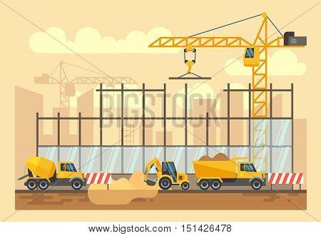Building construction process, engineering tools, materials, construction equipment vector flat illustration. Bulldozer and excavator