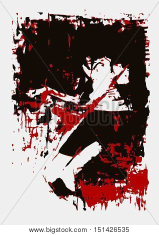 vector illustration, paint, girl lies, red black gamma, picture horror fear